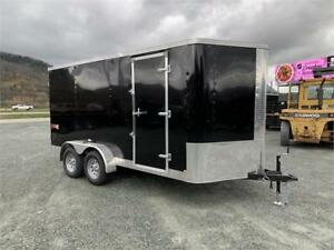 NEW 7x14 V-NOSE TRAX ENCLOSED CARGO TRAILER WITH BARN DOOR