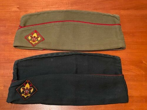 2 Different Vintage Boy Scouts of America Garrison Hat Caps w/ Patch -Both Large