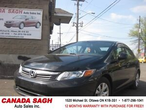 2012 Honda Civic LX AUTO GREAT DEAL ! 121M.WRTY+SAFETY $9990
