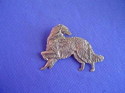 Borzoi Wolfhound standing Looking Back pin 17F Pewter Hound Dog Jewelry by CAC