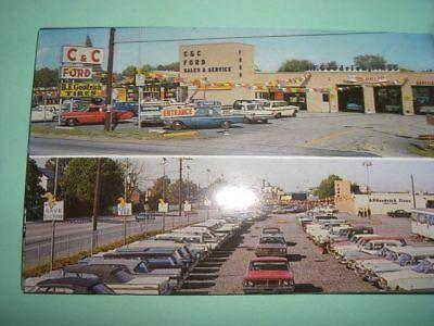 Car dealership C&C Ford car dealer  auto 1960's Hatboro PA postcard