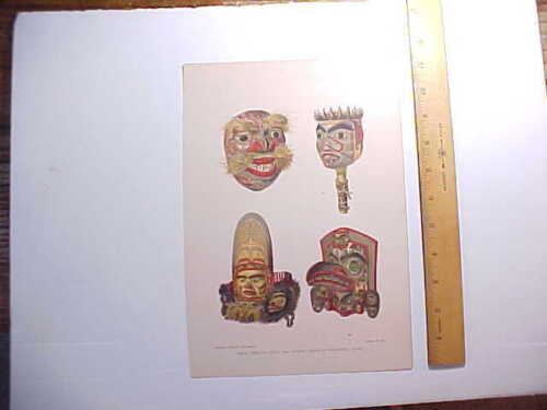 1880s CHROMOLITHO PRINT NORTHWEST COAST VANCOUVER NATIVE INDIAN MASKS VG+