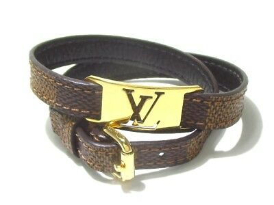 Auth LOUIS VUITTON Burasure Sign It M6623E Ebene CA2122 Bracelet Damier Canvas