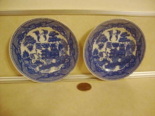 Vintage Butter Pats x 2 Japan Porcelain Blue Willow Pattern Collectible!