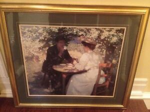 Tea n Garden Painting Victorian Gold Frame Home Wall Art Vintage