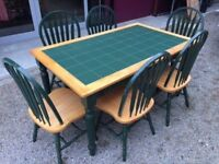 Pine kitchen table with 6 chairs