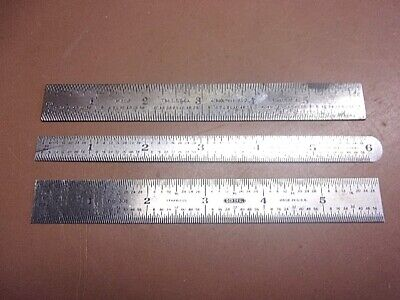 Lot Of 3 S.s. 6 Rulers Starrett No. 608 General No. 308 Unbranded Usa Made