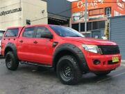2013 Ford Ranger PX XL 2.2 (4x4) Red 6 Speed Manual Crew Cab Utility Revesby Bankstown Area Preview