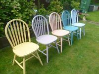 5 x Shabby Chic Chairs up-cycled in lovely pastel coloured chalk paint - happy to split