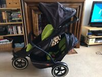 Phil and Teds Lime Green Double Pushchair