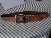 Leather Rhinestone Buckle & Belt 90cm