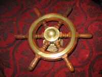 "Antique wheel 18"" diameter c/w steering drum. 4.5"" between bolts. From Thames barge."