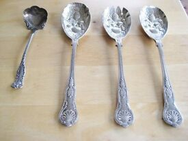 Three Vintage Sheffield EPNS Ornate Serving Spoons And One WW Rogers aa Cream Ladle OFFERS WELCOME