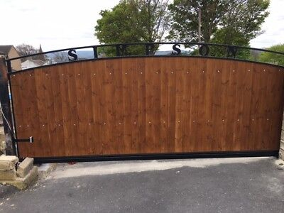 AUTOMATED WOOD INFILL CANTILEVER  SLIDING GATE 10FT