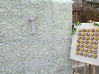 White 8ft/8ft Flower Wall, *£190* Flower Frame and Doughnut Wall, London **ONLY £190 FOR HIRE**