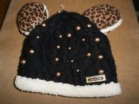 LADIES / MENS WARM FLEECE LINED BEANIE HAT WITH EARS - NEW