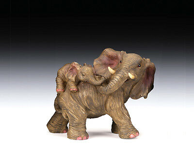 NEW AFRICAN ASIAN MOTHER ELEPHANT WITH BABY CALF ON HER BACK STATUE FIGURE