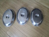 3 stainless steel serving trays