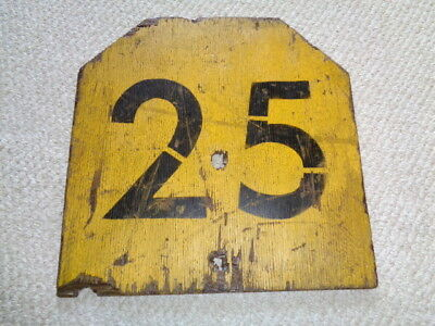 Rare Railroad hand painted Wabash N&W 1950 speed limit sign yellow black 25 (Yellow Speed Limit Signs)