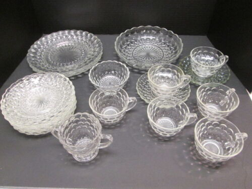 Vtg Bubble Clear Glassware by Anchor Hocking 22 Pcs Sugar Veggie Bowl Dishes