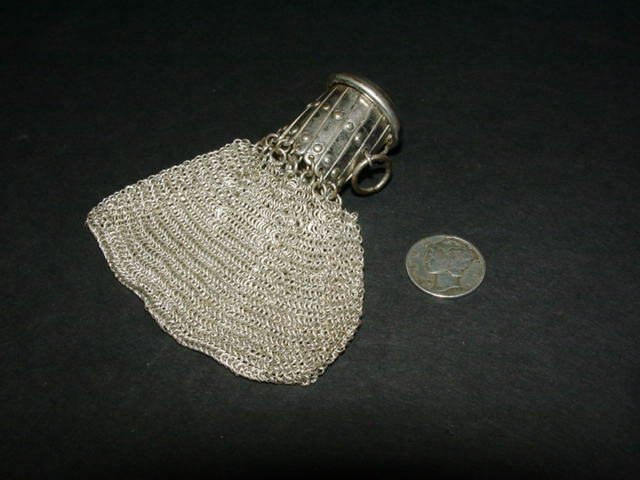 Antique vintage - silver tone - small MESH PURSE - COIN BAG - Germany