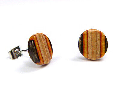 RECYCLED SKATEBOARD Wooden Stud Earrings Uk Wood Post BooHoo Fashion Handmade