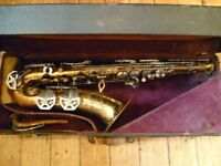 Dolnet stencil (Jean Cartier) tenor saxophone -superb Art Deco vintage sax,plays but needs tlc hence