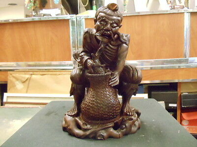 hand carved antique  Japanese Oriental Carved Wood Fisherman Man with basket