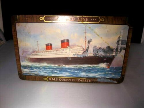 RMS Queen Elizabeth Cunard Line Cruise Ship Edward Sharp & Sons Tin Box
