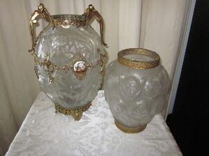 Vintage Frosted Glass Vases