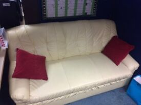 CREAM SOFA AND 2 ARM CHAIRS, FAUX LEATHER
