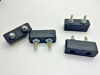4 Rubber Vibration Isolator Mounts 2-34 Long X 1 Ht 14 X Dual 1 Studs
