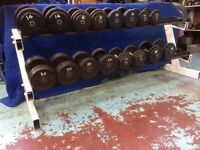 set cast dumbells 7.5kg - 30kg with watsons commercial rack £375
