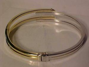 #929-STUNNING 2 TONE 10K ITALY GOLD-HINGED BANGLE-TESTED/HALLMARKED-WILL SHIP FREE-ACCEPTING EBANK TRANSFER