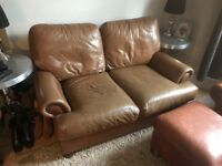 John Lewis Cordoba Brown Small Leather Sofa And 2 x Chairs with 1 x footstool