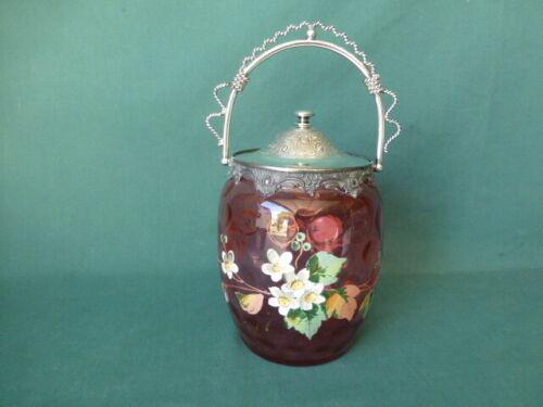 Antique Cranberry Enamel Decorated Art Glass Biscuit Jar or Cracker Jar