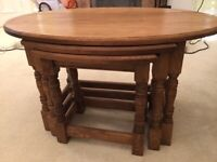 Solid oak nest of tables - good condition