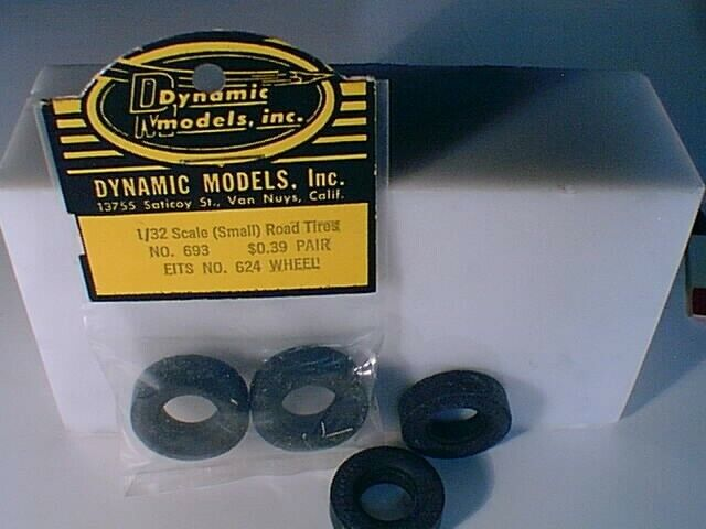 1/32 Dynamic #693 set of 4 Firestone slot car tires NEW OLD STOCK LOOSE MSPR Y