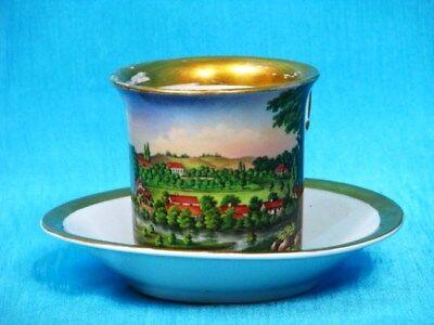 SPM Schumann Berlin Ansichten Tasse mit Untertasse cup and saucer um 1844