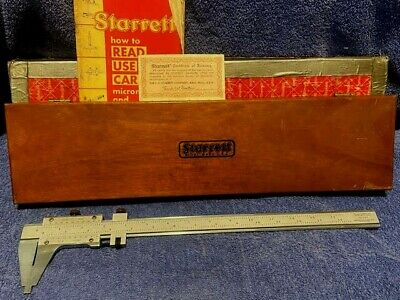 Starrett Master Vernier Caliper 123 Oak Case 14 Cal Vintage 1955-1963
