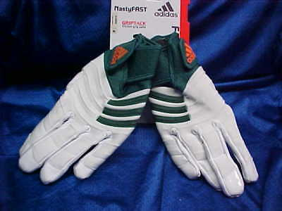best website 6c4bd 49dce Adidas Nasty Fast Miami Hurricanes Football Gloves White Green A0662 Size  5XL