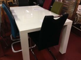 New White Dining table with 4 chairs various colours Only £349 in stock now OPEN SUNDAY 1-3 pm