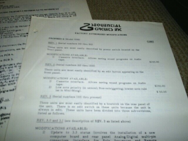 Sequential Circuits Prophet 5 Memory Expansion/Modifications/prom list Manuals!