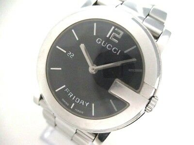 Auth GUCCI G-Round Day-Date 101M Silver Black Men
