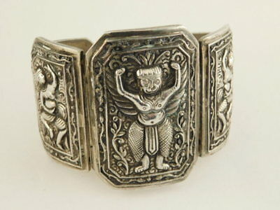 SILVER ANTIQUE CHINESE WIDE BRACELET MASK NUDE DANCER CHINA 63 GRAMS
