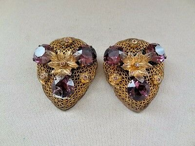 Wonderful VICTORIAN Revival Brass & AMETHYST GLASS Dress Clips