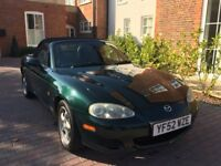 Green Mazda MX-5 for sale, 1.8 litre, petrol, 152000 miles and 10 months MOT. Great runner!
