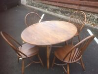VINTAGE ERCOL TABLE & CHAIRS