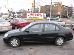 **2002 Honda Civic**  4  Door Auto, air, Certified & E-tested