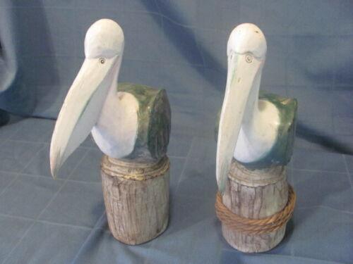"""2 Carved Wood Pelicans on 2 Pier Pilings (12 1/2"""")"""